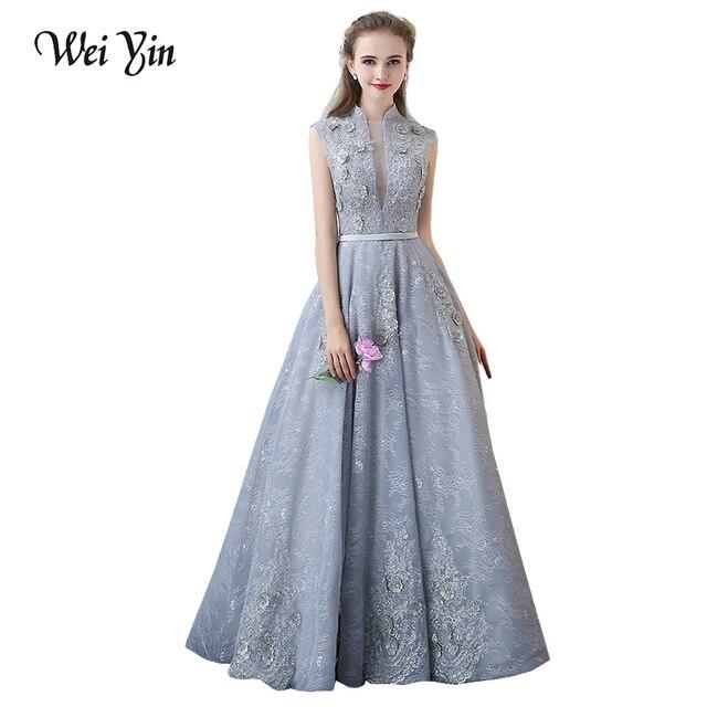 0a3fa6c41f8 WeiYin dentelle élégante Robe De soirée longue Chic robes De soirée  ceintures Robe De soirée Robe