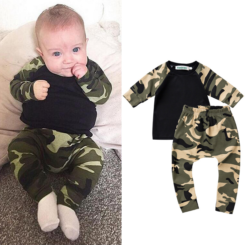 2PCS Baby Set Baby Boys Clothes Long Sleeve Camouflage T