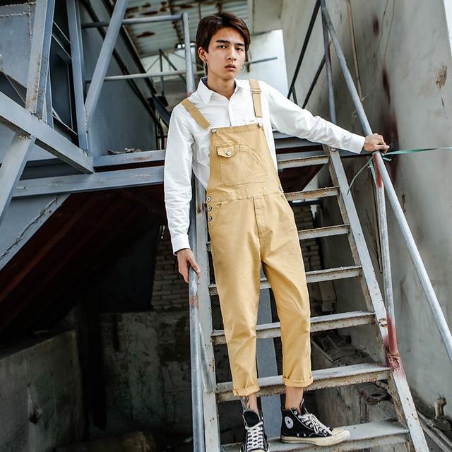 2019 New Men's Casual Jumpsuit tide Korean version of the Self-cultivation Nine pants Men's Japanese Wild Suspenders Size XXXL