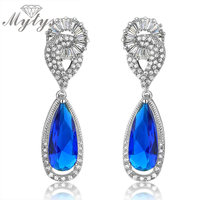 Mytys White Gold High Quality AAA Level Blue Crystal Drop Earrings Jewelry for Women CE101