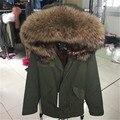 Marca de calidad superior 2016 Nueva chaqueta de invierno con capucha de piel de mapache grande mujeres parka abrigo de piel natural real para la mujer gruesa caliente forro