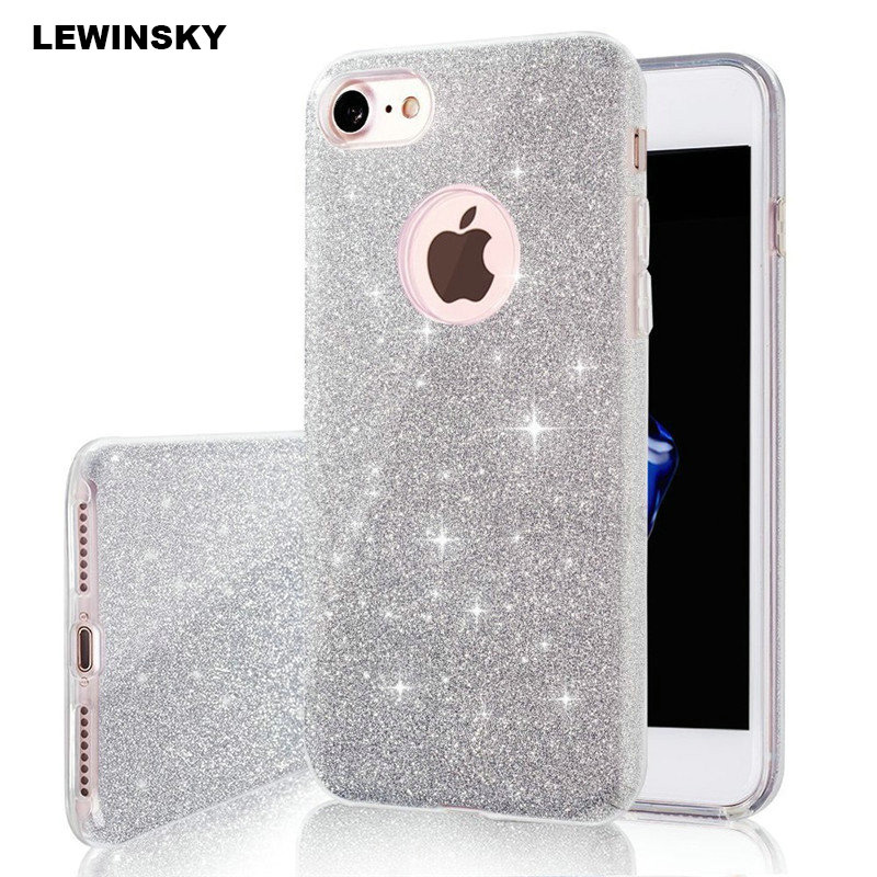 Luxury Bling Glitter Case For iPhone 5 5s 6 6s 7 8 Plus Case 3 in 1 TPU Edge PC...  iphone x cases 3 layers Luxury Bling Glitter font b Case b font For font b iPhone b font 5 5s