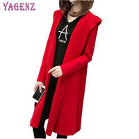 Autumn Winter Women Knitted Sweater Cardigan High Quality Loose Long Section Solid Color Hooded Women Knitted Sweater Plus Size