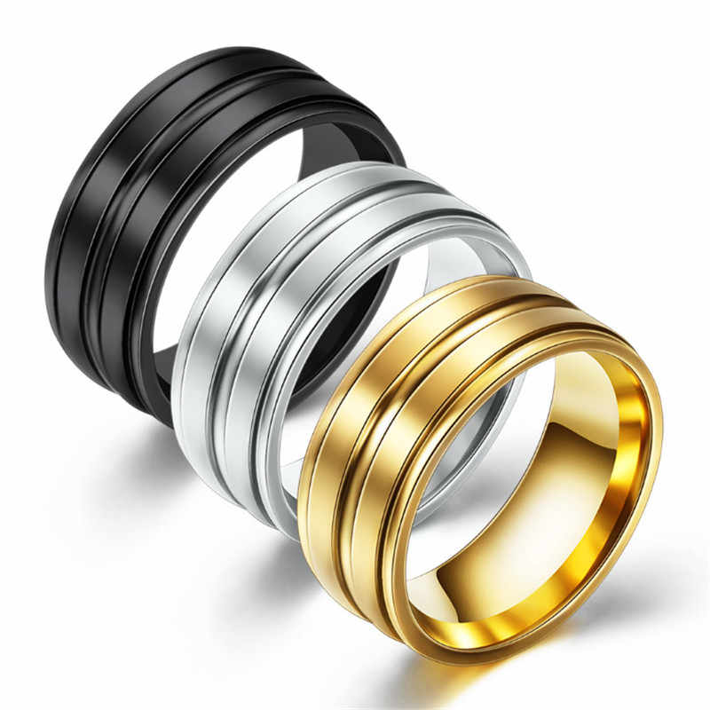 ZORCVENS Stainless Steel Wedding Rings For Women Three Colors Trendy Fashion Jewelry For Men Women Party Jewelry Dropshipping