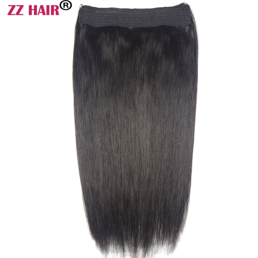 ZZHAIR Halo Human-Hair-Extensions One-Piece-Set Non-Clip 80g-200g Fish-Line 16--26-machine-Made