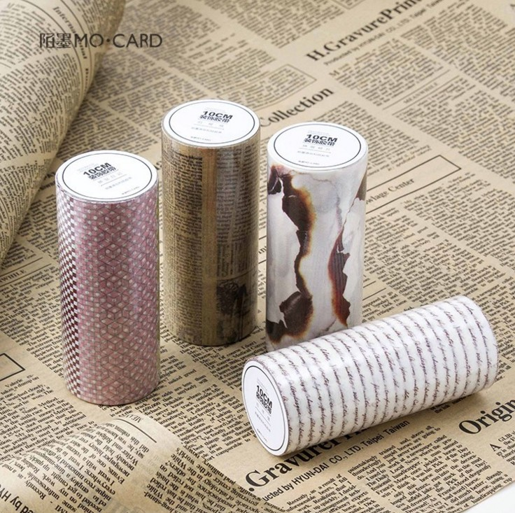 10cm*5m Washi Masking Tapes Retro Paper Letters Decorative Adhesive Scrapbooking DIY Tools Paper