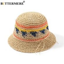 00808b2f57367 BUTTERMERE Primavera Chapéu de Sol de Verão Das Mulheres Dobrável chapéu de Palha  Chapéu de Praia Feminino Moda Patchwork Arco S..