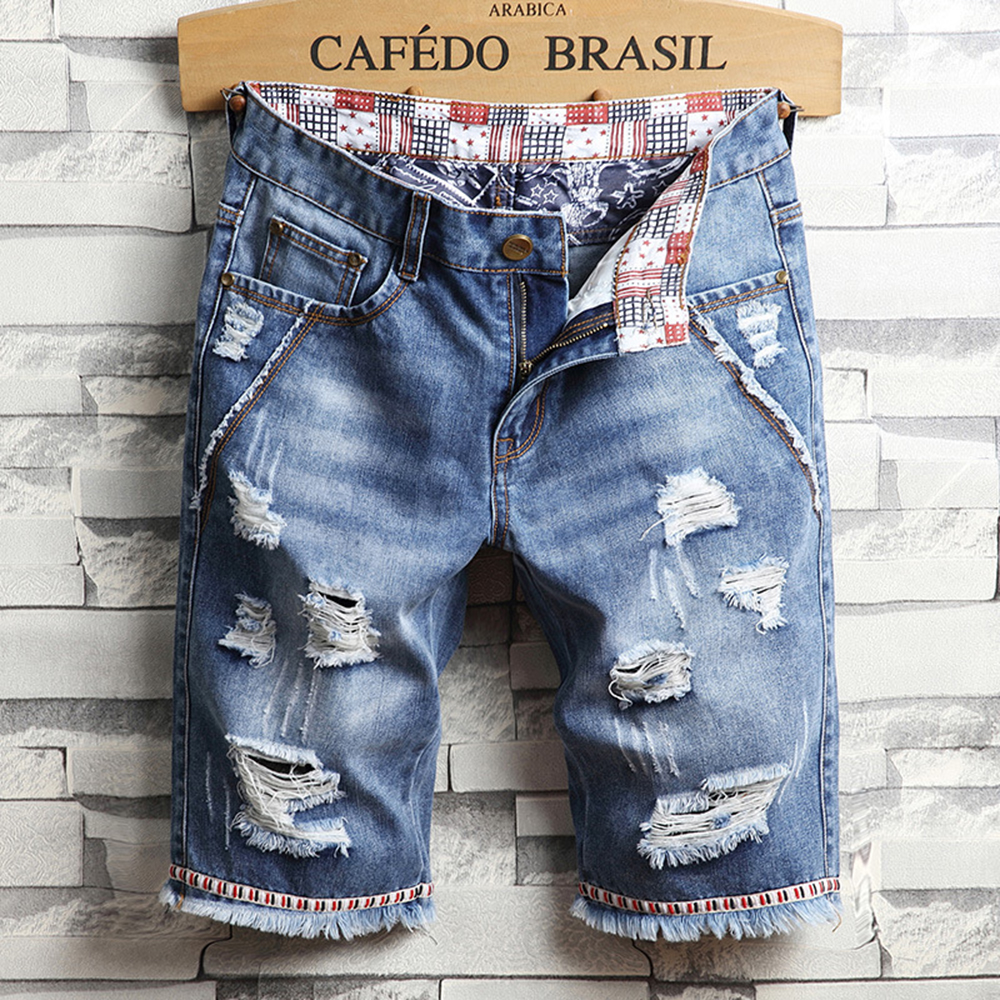 Men Denim Shorts Fashion Short Jeans Elasticity Distressed Hole Blue Casual Shorts Patchwork Denim Jeans Male 2019 Summer