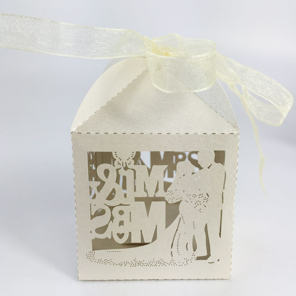 100 Pcs Wedding Favors Candy Box Paper Laser Cut Gift Boxes For ...