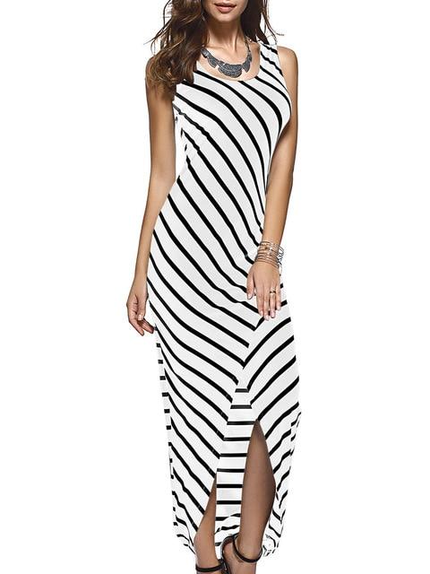 978e1b59de67 WEANIA Women Black White Striped Boho Beach Maxi Dress 2018 Summer  Sleeveless Forking Sexy Ladies Casual Long Dress Vestido Plus