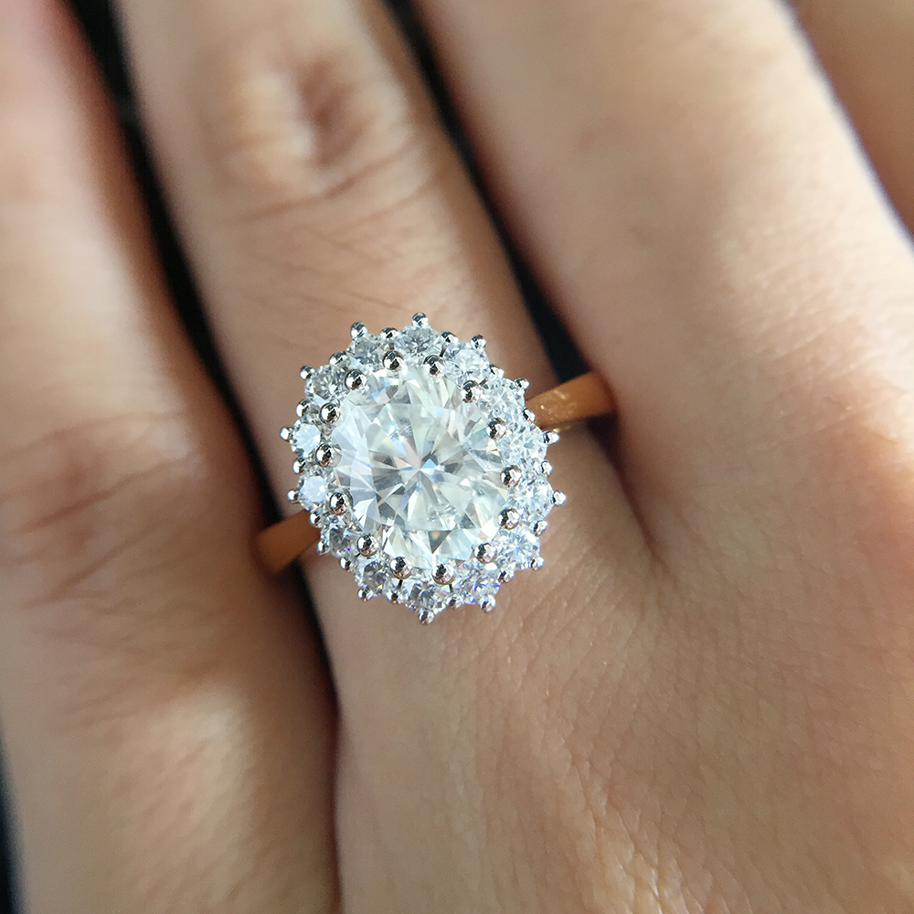 Custom Main Stones is 3 Carat Oval EF Moissanite Ring in 14K Yellow Gold