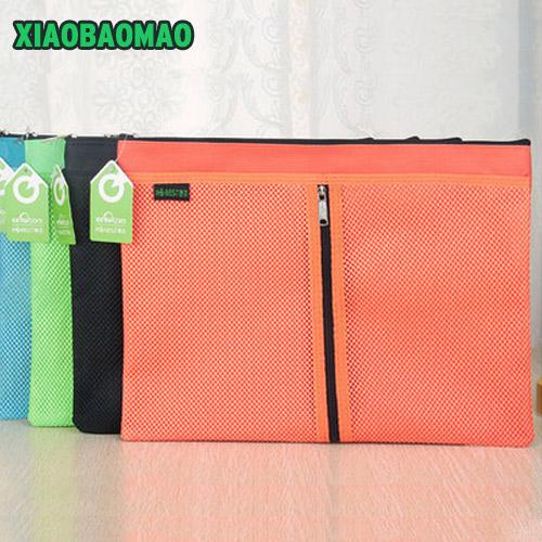 5 Size! Colorful Double Layer Canvas Cloth Zipper Paper File Folder Book Pencil Pen File Case Document Bags