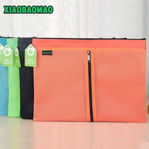 5 Size! Colorful Double Layer Canvas Cloth Zipper Paper File Folder Book Pencil Pen File Case Document Bags