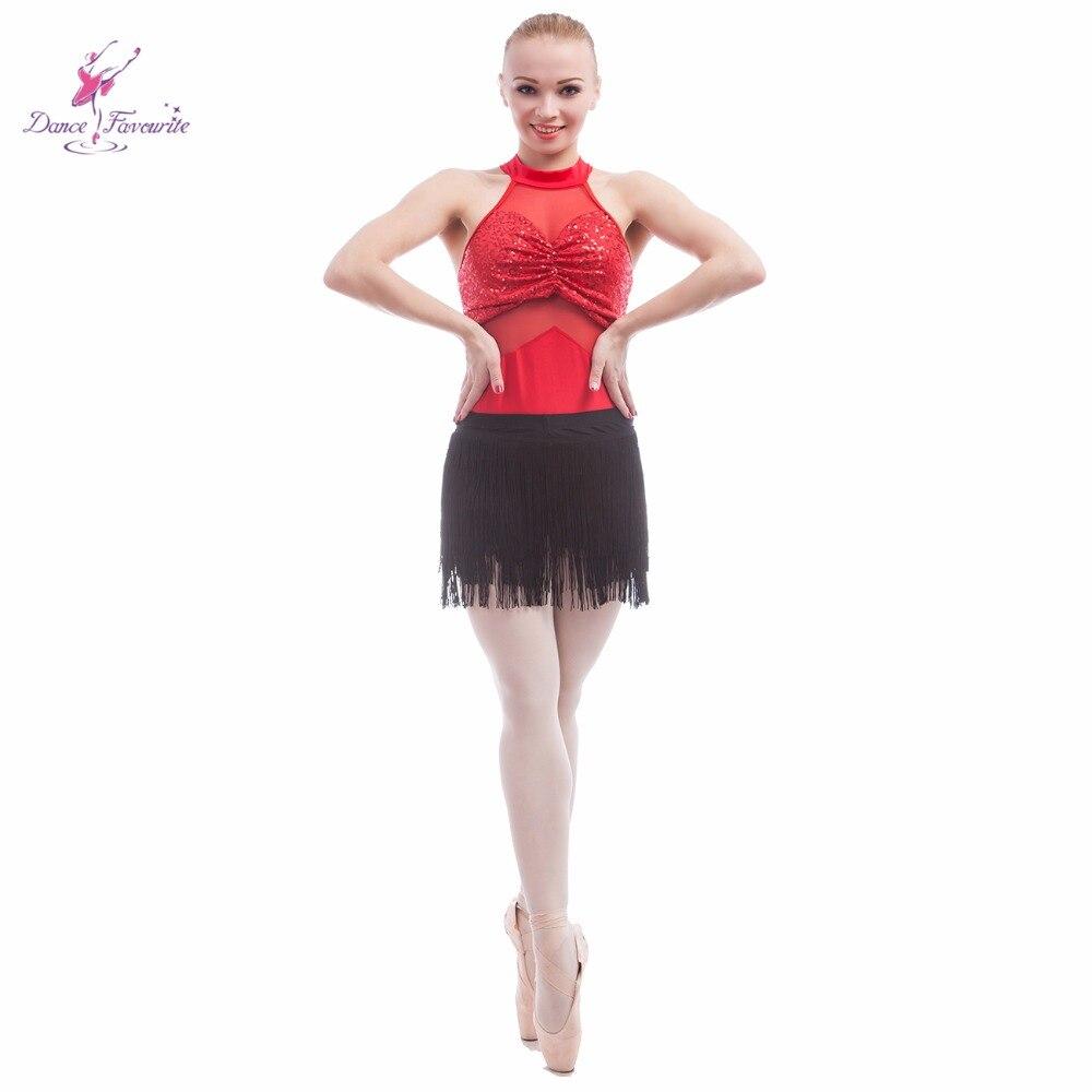 Sequin spandex bodice ballet leotard women stage performance leotard with tassel skirts
