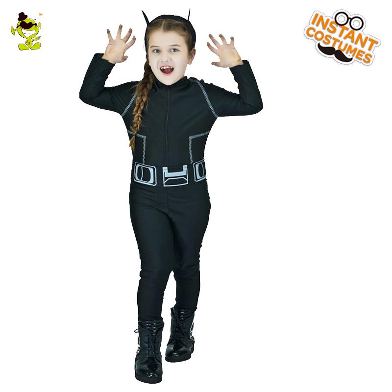 nias trajes nios del gatito lindo gato negro cosplay del vestido de lujo para la fiesta
