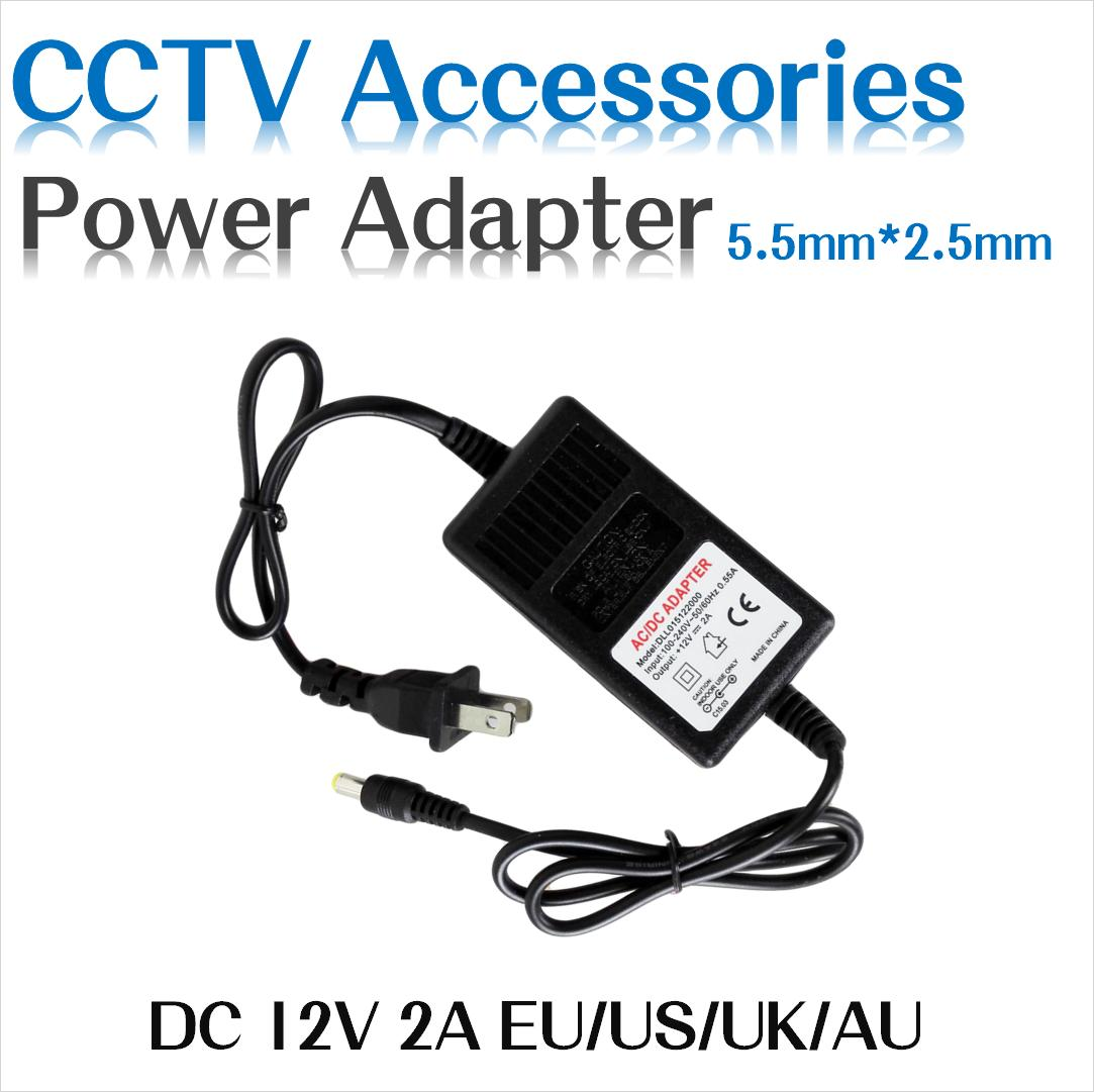 EU US DC 12V 2A Power adapter AC  100-240V to DC12V for CCTV Camera 5.5mm*2.5mm LED Light for IP camera hiseeu for led strip or lcd monitor cctv camera connector ac 110 240v input us eu au uk plug dc 12v 10a 120w output power adapter