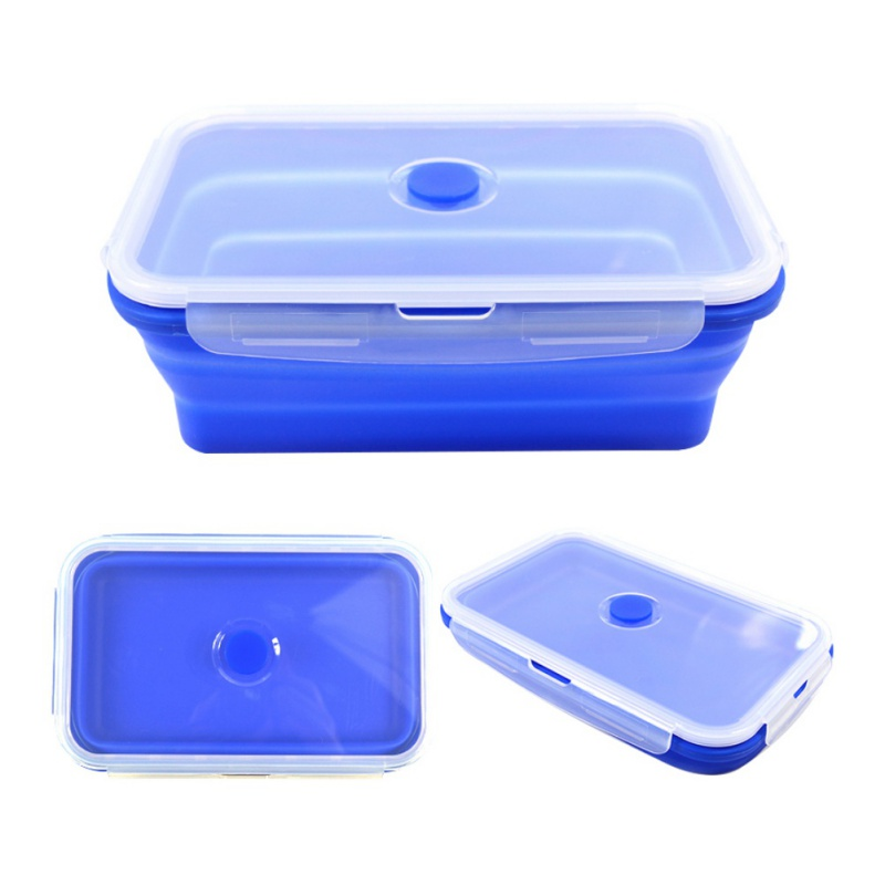 Kitchen Silicone Folding Lunch Box Food Storage Container Microwave Tableware Portable Household Outdoor Fruit Food Organizer