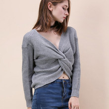 b2c342d455 Fashion Sexy V Neck Women Sweater Solid Long Sleeve Crop Top Female  Pullovers Ladies Clothing Computer Knitted Sweaters Womens