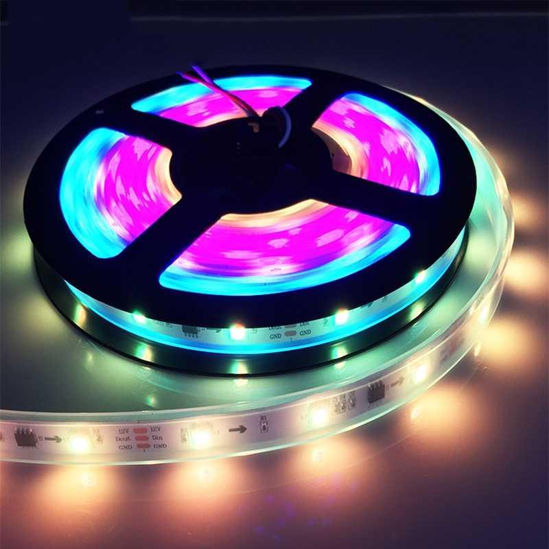 LED قطاع ضوء ws2812 2812b WS2811 2811 IC 5 فولت 12 فولت للبرمجة الفردية عنونة RGB 5050 مصلحة الارصاد الجوية