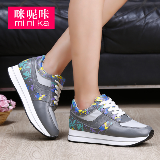 7070957645ce Minika Hot Sale Winter Fashion Casual Sneakers Women Platform Shoes  Camouflage Female Lace-up Sport Shoes For Women