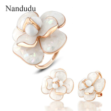 Nandudu Blooming Flower Ring Earrings Jewelry Sets 18k Gold Plated Women Female Ring Earring Jewelry Gift R681 E36