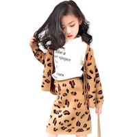 Autumn Spring leopard jacquard dobby baby cardigan + skirt girls 2 pcs set kids suit children clothes 3 to 12 yrs