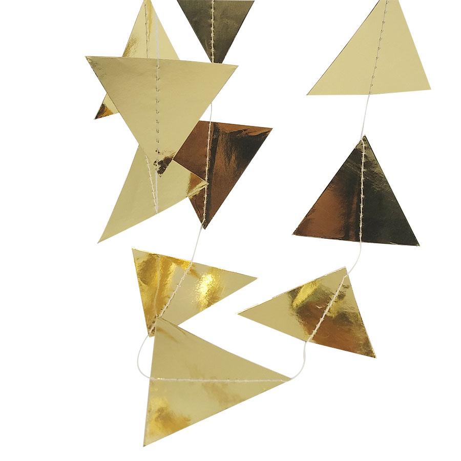 Nicro 3M trekëndëshat e artë Garland Garland Krishtlindjeve Wall - Furnizimet e partisë - Foto 4