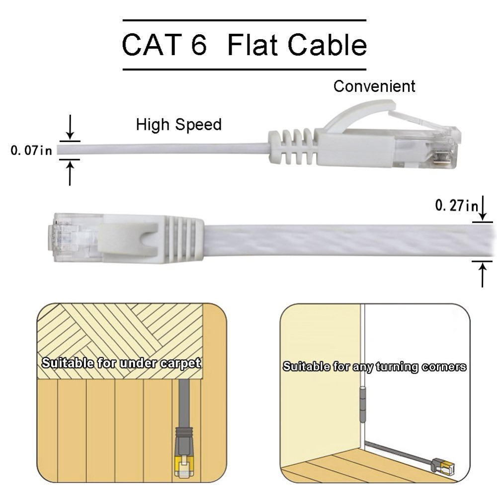 6 PACKE Ethernet Cable RJ45 lan cable Cat6 Flat 1000Mbps CAT 6 Network cable cavo Ethernet for Computer Router Laptop ps4 PC
