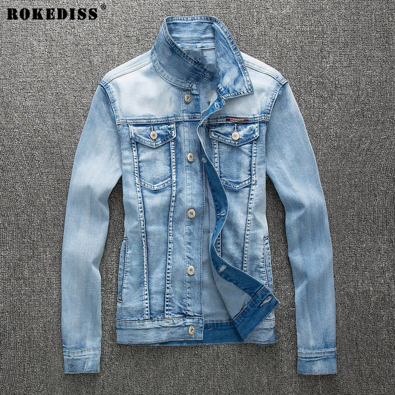 2016 autumn new stretch light blue denim jacket men
