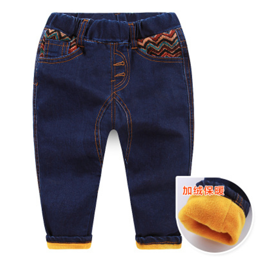 Winter Boys Jeans Warm Thick Pants kids Pants Children Jeans Warm Fleece Boy Denim Pants Straight Jeans men s casual color printing zip fly straight legs denim pants