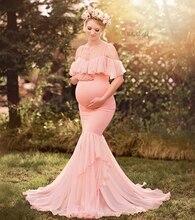 Syrenka sukienka ciążowa na sesja zdjęciowa kobiety w ciąży ciąża sukienka fotografia rekwizyty Sexy Off ramię Maxi suknia macierzyńska