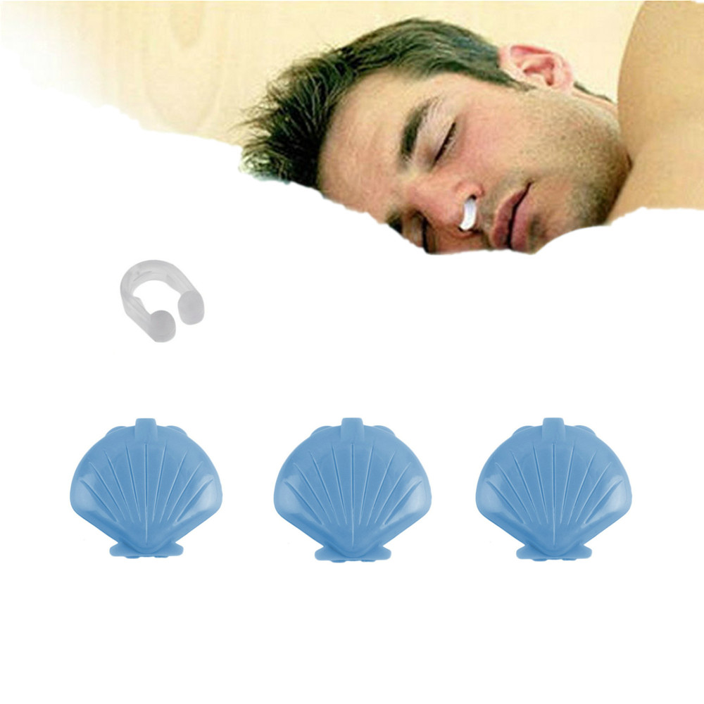 3Pcs Soft Silicone Anti Snoring Nose Clip Sleep Snore Noise Stopper Shell Shape Box Mirror Inside Sleeping Quality Protector