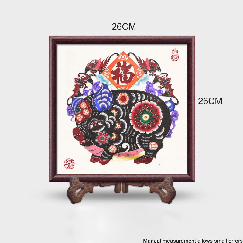 Chinese Handmade Paper Cut Features Crafts Lucky Pig Paper Cutting Vintage Wood Photo Frame Living Room Home Decor Wedding Gifts - 2
