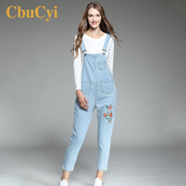 CbuCyi monos para mujer talla grande 5XL suelto Casual correas florales bordados Jeans monos para mujer
