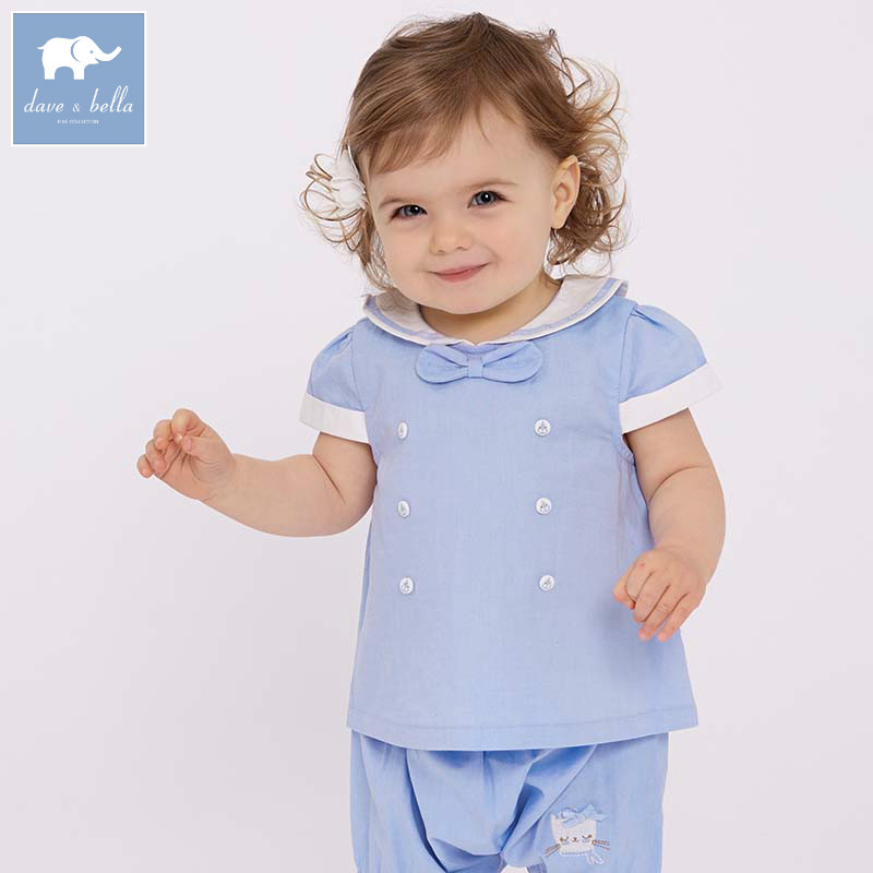 DBM7339 dave bella summer baby cute blue clothing sets children infant toddler suit kids high quality clothes girls outfits db4065 dave bella autumn baby girls cute lolita clothing set kids sets