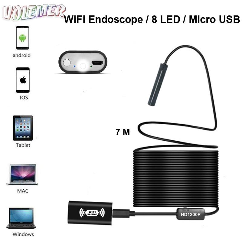 все цены на Volemer USB Endoscope HD 1200P IP68 Semi Rigid Tube Micro Wireless Wifi Endoscope Camera Borescope Inspection for Android/iOS онлайн