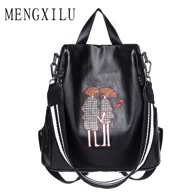 MENGXILU High Quality Pu Leather Backpack Women Embroidery Casual Daypacks Female Anti-Theft Backpacks For Teenage Girl Shoulder