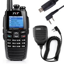 TYT DM-UVF10 256CH Digital Walkie Talkie DTMF DPMR Dual Band Radio Ham Transceiver+USB Program Cable+BaoFeng Handheld Speaker