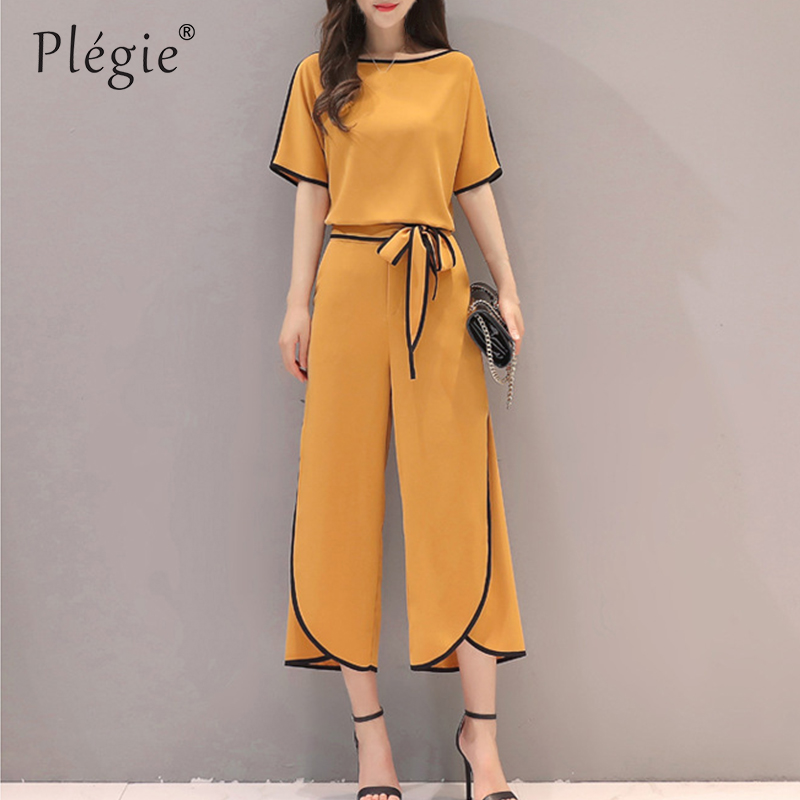 Plegie Summer New Women Chiffon Shirt+long Trousers Sets Lady Two Pieces Elegant Chiffon Blouse And Wide Leg Pant Suits