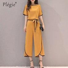 a0795ec65a28 Plegie verano nueva camisa de gasa de mujer + Pantalones largos conjuntos  Señora dos piezas elegante