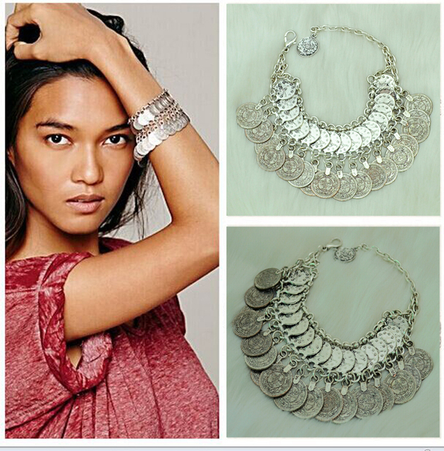 Turkish Fashion Vintage Style Handmade Boho Coin Bracelet Metal Loop Plates Festival Costume Bracelets For Women Girl Jewelry