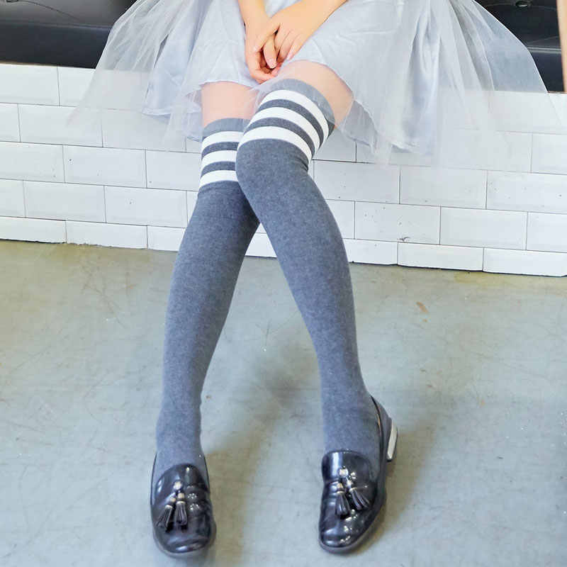 b3f9e3887 ... Cotton over knee socks South Korean students college school long tube  thick thigh high stockings silk ...