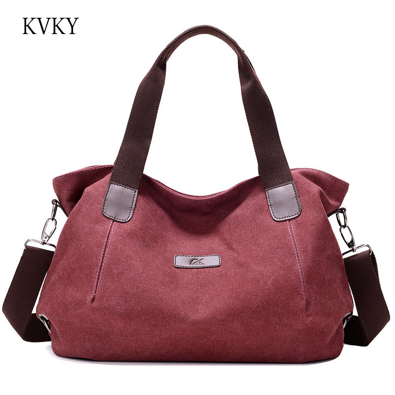Kvky Brand 2018 New Style Women Bag Canvas Handbags Tote Messenger Bags Casual Shoulder Designer Bolsa Feminina In From Luggage