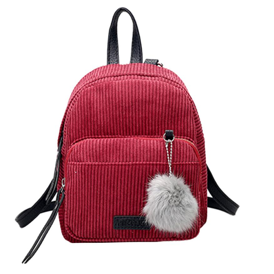 Transer Women Corduroy Backpacks Girls Female Zipper Vintage Suede Shoulder School Bags Travel Backbags Hair Ball Ornaments A5