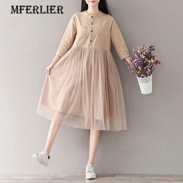 Mferlier Autumn Winter Dress Women Cotton and Linen Lace Dress O Neck High Waist Patchwork Ladies Mesh Dresses