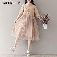Mferlier Mori Girl Summer Autumn Dress A Line Cotton And Linen O Neck High Waist Mesh