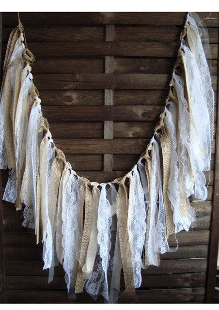 rustic white lace garland wedding garland cottage banner burlap hangings bridal shower decorations beach wedding lace