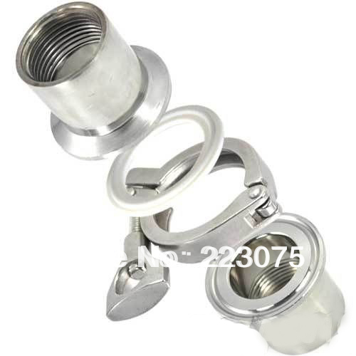 Free shipping 1/2 SS304 TRI CLAMP ASSEMBLY (2xSanitary NPT Female Pipe Fitting ++ 1xclamp + 1xgasket) Tube fitting