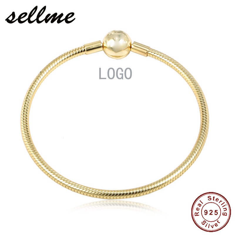 c9ac28ad8 100% Pure 925 Sterling Silver Shine Moments Smooth Bracelet With Ball Clasp  fit Pan Charm Bracelets DIY Jewelry