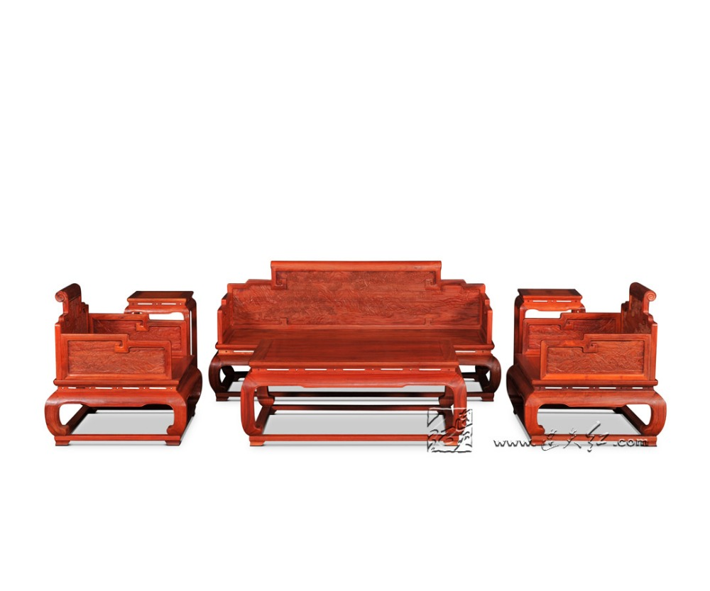 Living Room Furniture Sofa Sets Rosewood Throne Solid Wood Divan Chinese Classical Carving Tea Tables Annatto Flower Stand 3+2+1